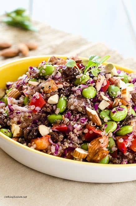 Edamame Quinoa Salad -This vegan quinoa salad is packed with protein and so delicious! WendyPolisi.com