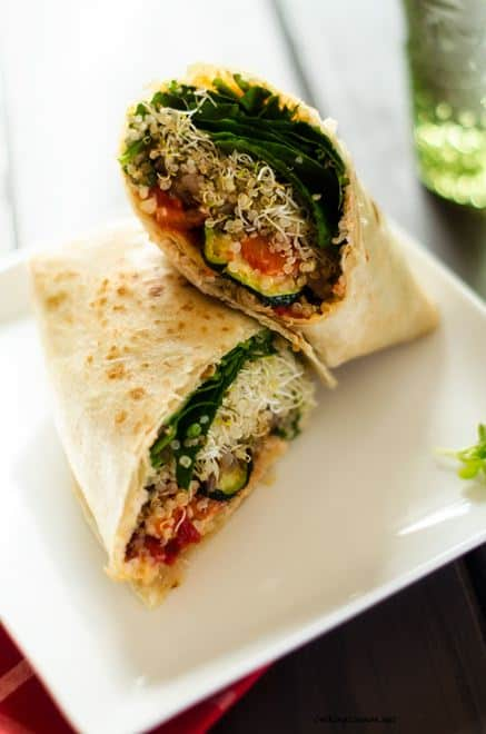 Grilled Veggie Quinoa Wrap - These healthy vegan quinoa wraps make a fantastic lunch! Packed with nutrients to keep you going all afternoon. WendyPolisi.com