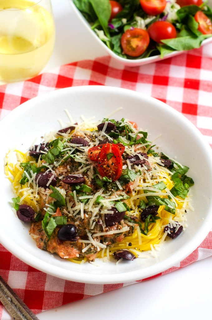 Linguine Pasta with Spicy Tomato Cream Sauce, Olives and Basil