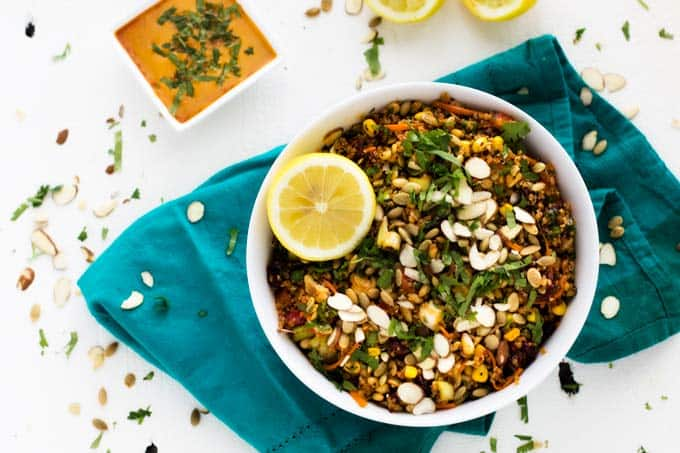 Horizontal shot of Fiesta Quinoa Salad in a white bowl