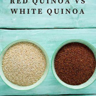 Photo of red and white quinoa with the caption Red Quinoa vs White Quinoa.