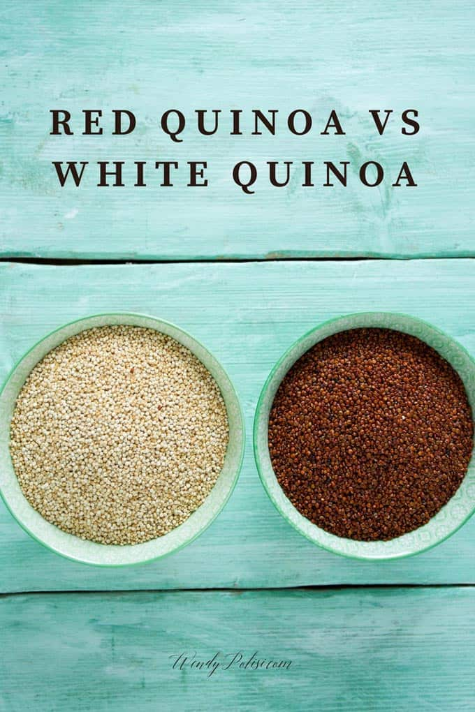 Photo of red and white quinoa with the caption Red Quinoa vs White Quinoa.