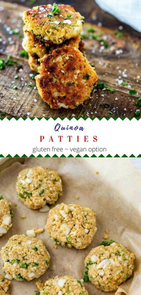 Photo of three stacked quinoa patties with a fourth quinoa patty leaning on it. Below is a photo of uncooked quinoa cakes on a parchment lined baking sheet.