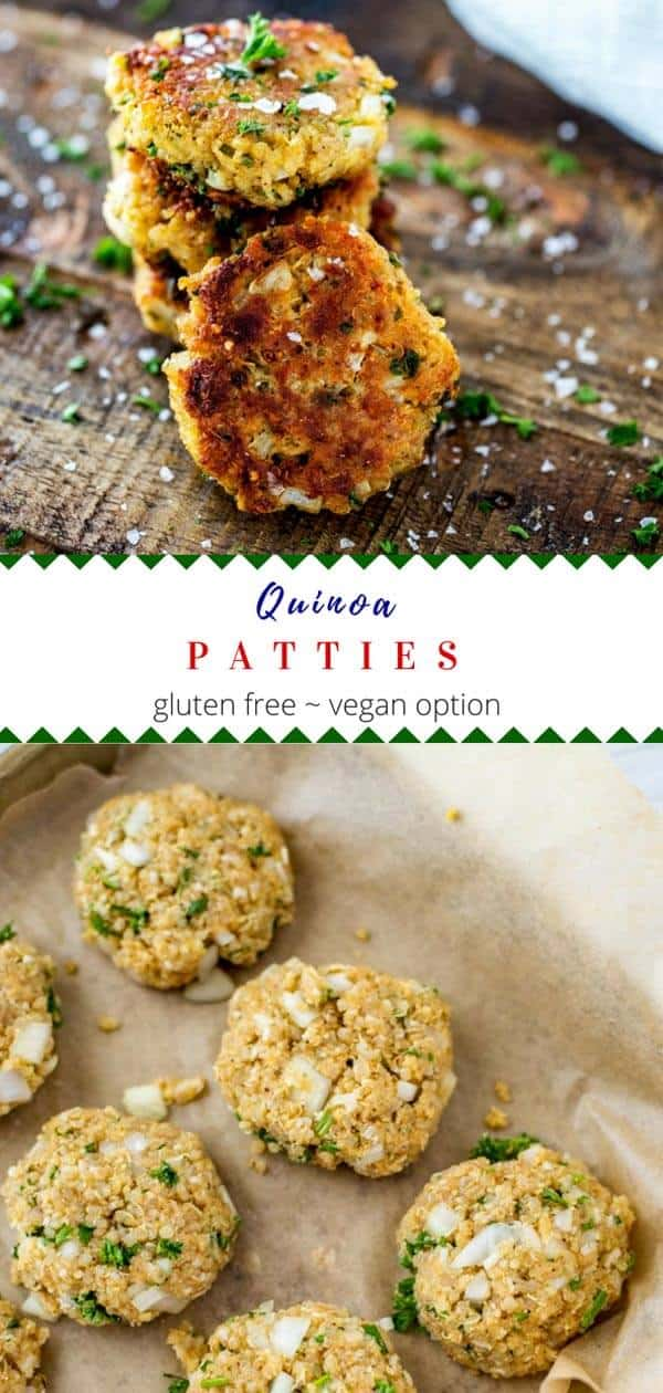 These healthy quinoa patties are an easy to make vegetarian recipe.  They are gluten free with a vegan option, and they may be pan-fried or baked.  #kidfriendly #healthyrecipes #quinoa #glutenfree #quinoapatties #healthy