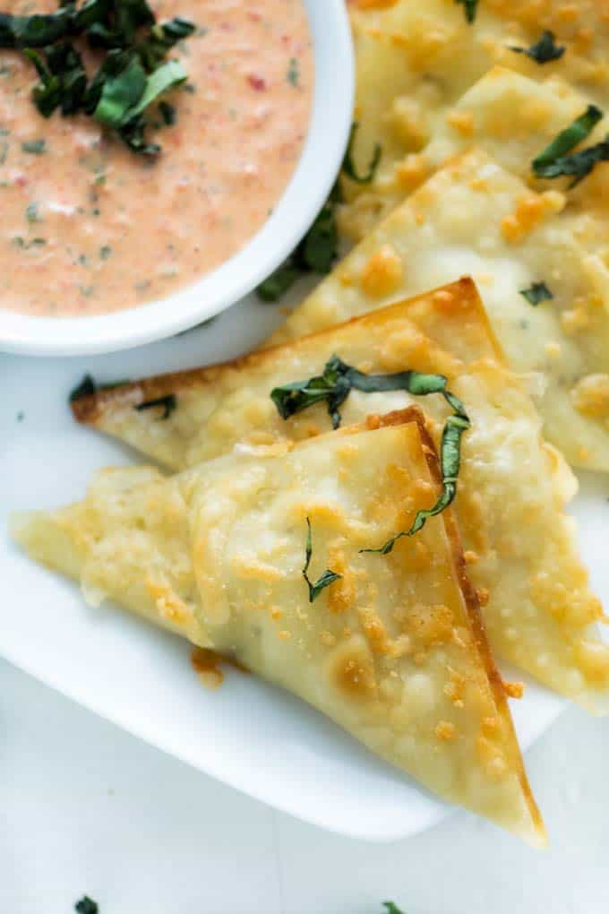 Close up photo of Goat Cheese Wontons