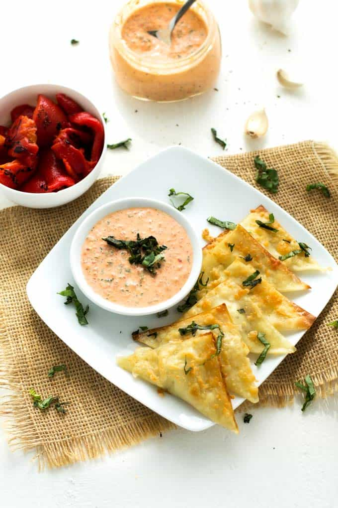 Photo of Goat Cheese Wontons with Roasted Red Pepper Garlic Sauce