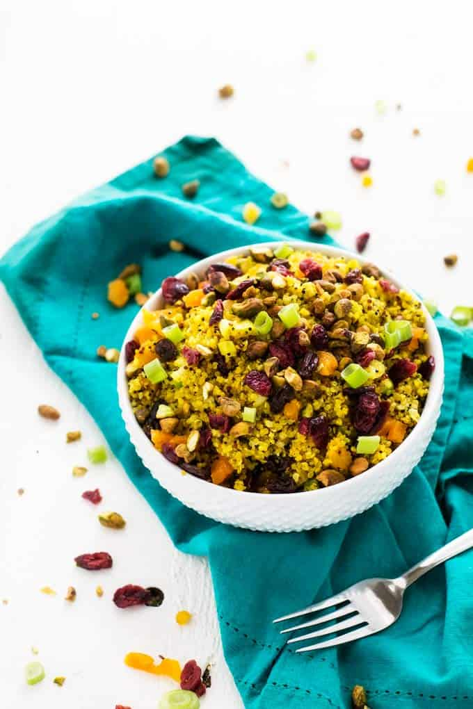 Photo of Jeweled Quinoa Salad in a White Bowl