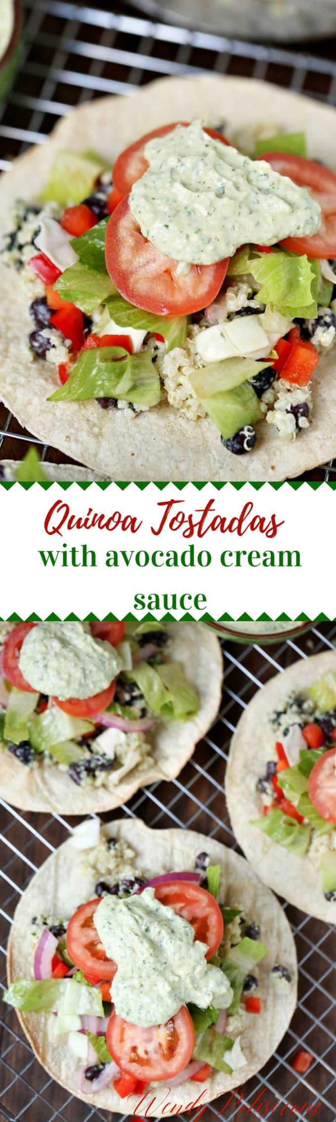 Quinoa Tostadas with Avocado Cream Sauce