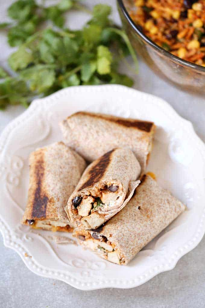Southwestern Quinoa and Chicken Burritos