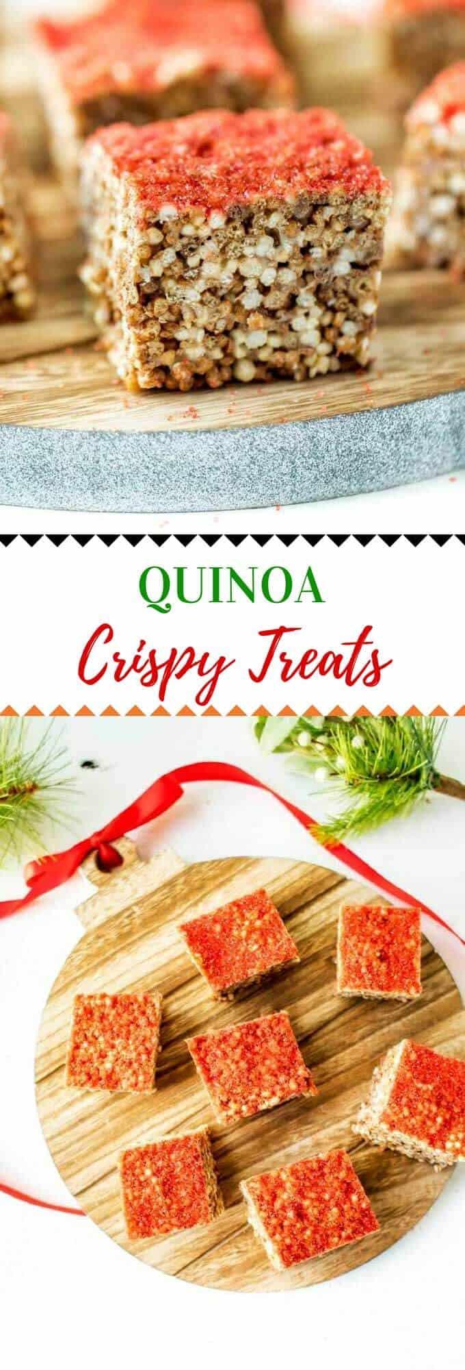 These Quinoa Crispy Treats are a healthier alternative to traditional rice crispy treats. Gluten free and easily made vegan.
