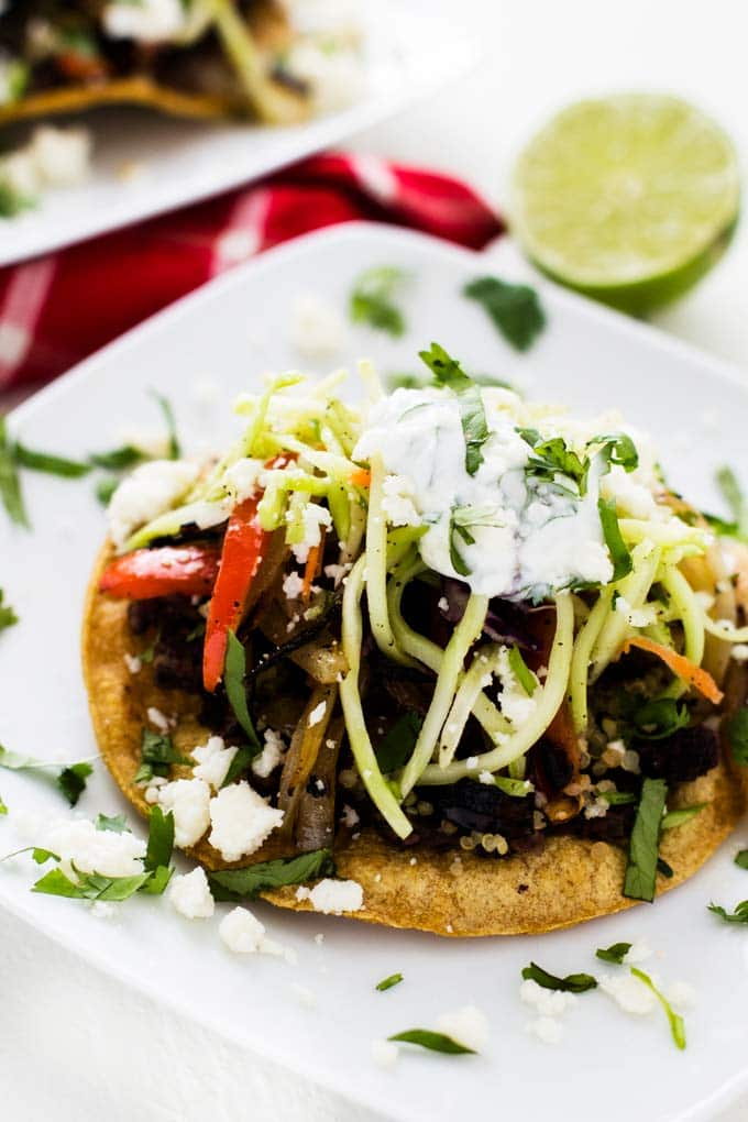 Close up shot of Black Bean and Quinoa Tostadas