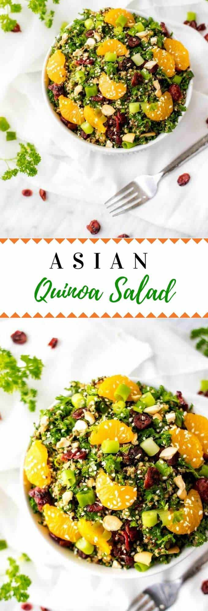 This healthy Asian Quinoa Salad is so easy to make and has a delicious Asian Dressing.  Perfect for vegan lunches and dinners and naturally gluten free.