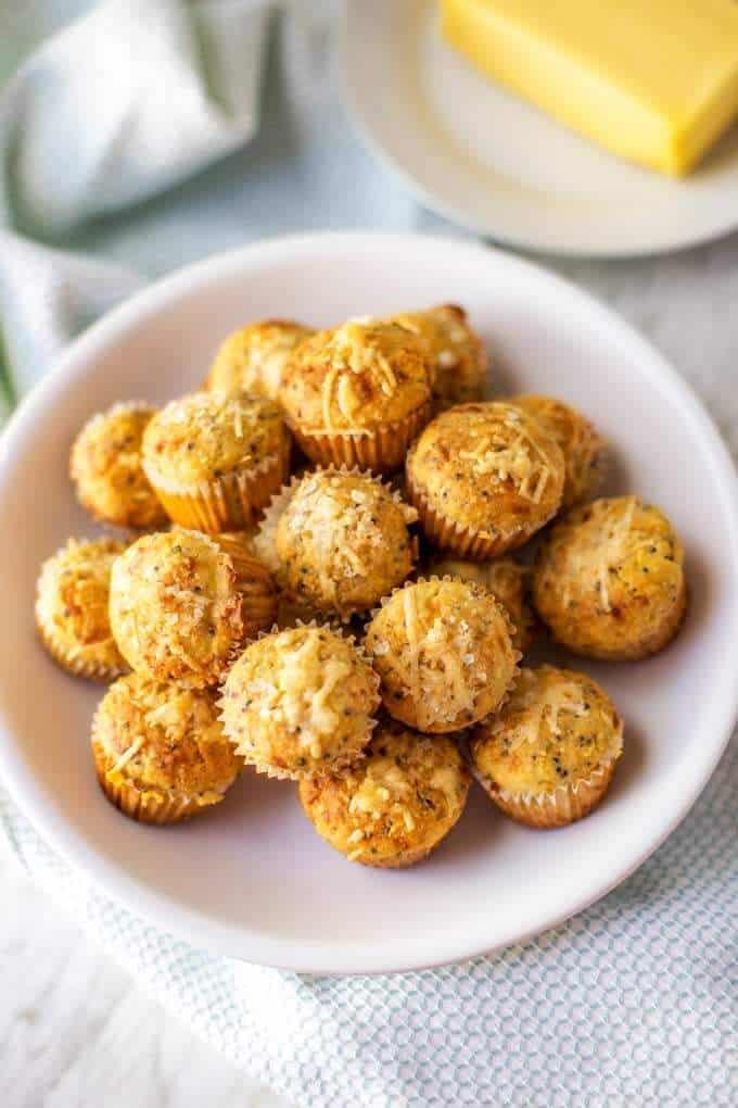 Overhead shot of gluten free corn muffins