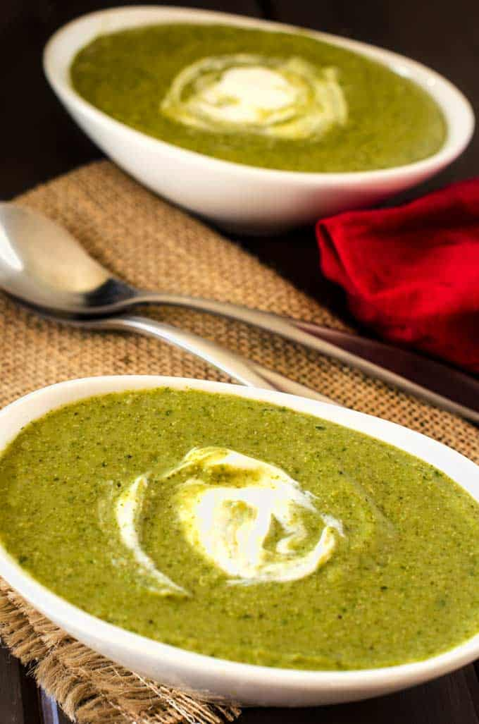 This Broccoli Spinach Quinoa soup is packed with nutrition and so delicious. You can easily make it vegan by substituting Daiya shreds for the cheese.
