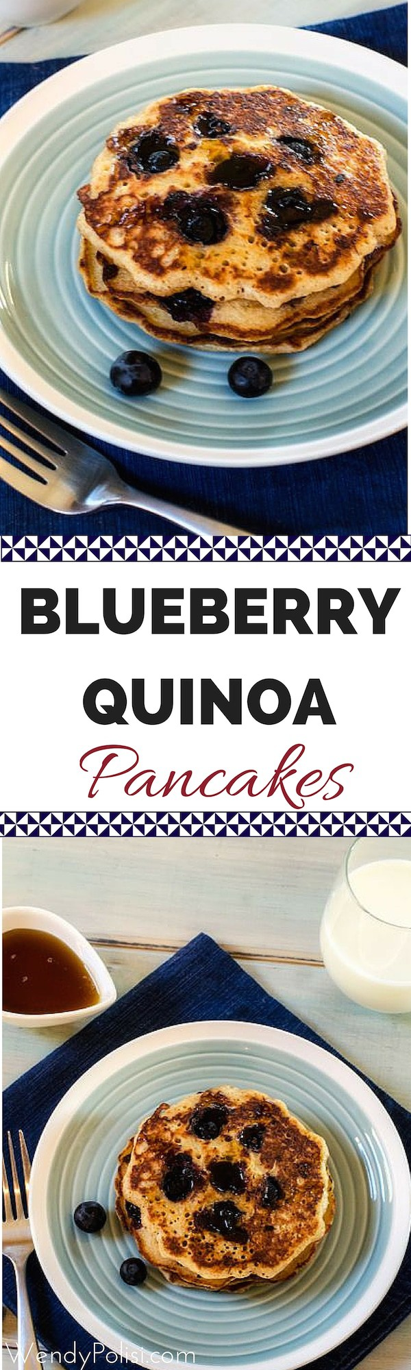 These Blueberry Quinoa Pancakes will make your whole family happy! They can be made gluten free or not and have a vegan option. So delicious! #quinoa #healthybreakfast #quinoabreakfast #pancakes #glutenfreepancakes #glutenfree