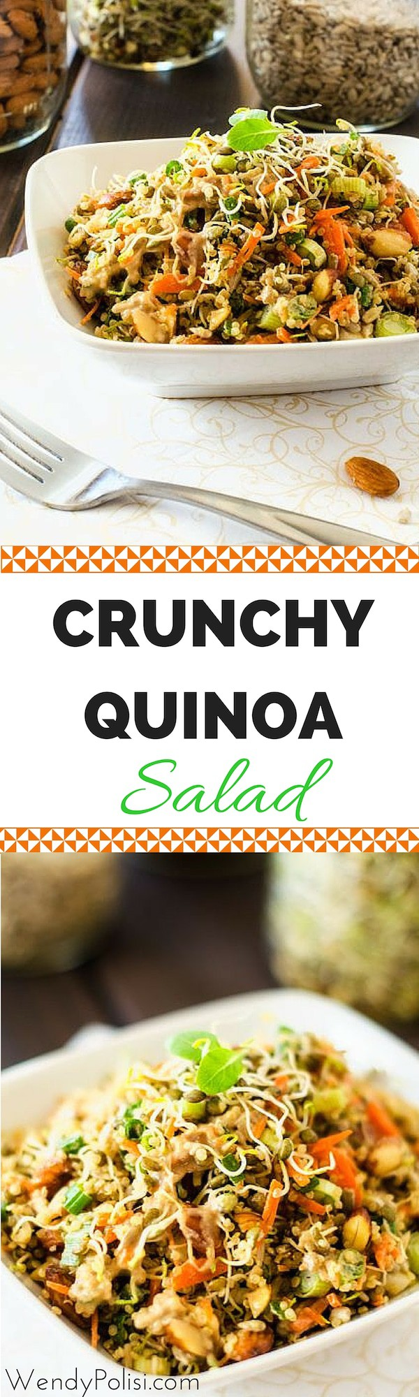 Crunchy Quinoa Salad - This vegan quinoa salad is all about the texture. Delicious and Nutritious! - WendyPolisi.com