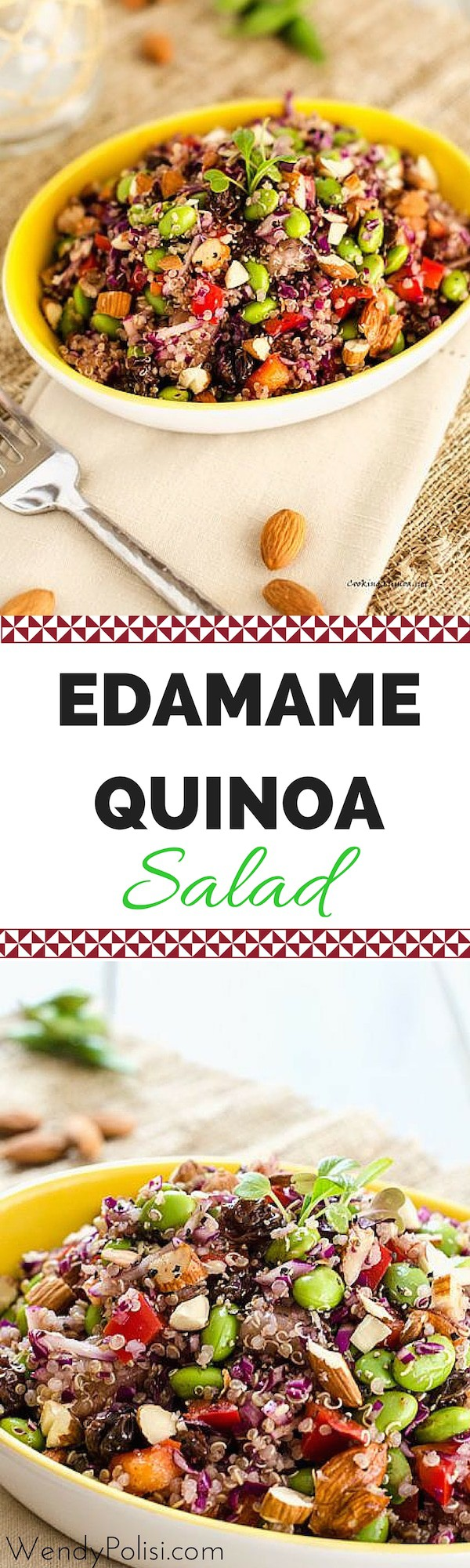 This Edamame Quinoa Salad is a delicious vegan salad that even meat-eaters will find hearty enough for a meal! It is a great make-ahead lunch for the busy work week!