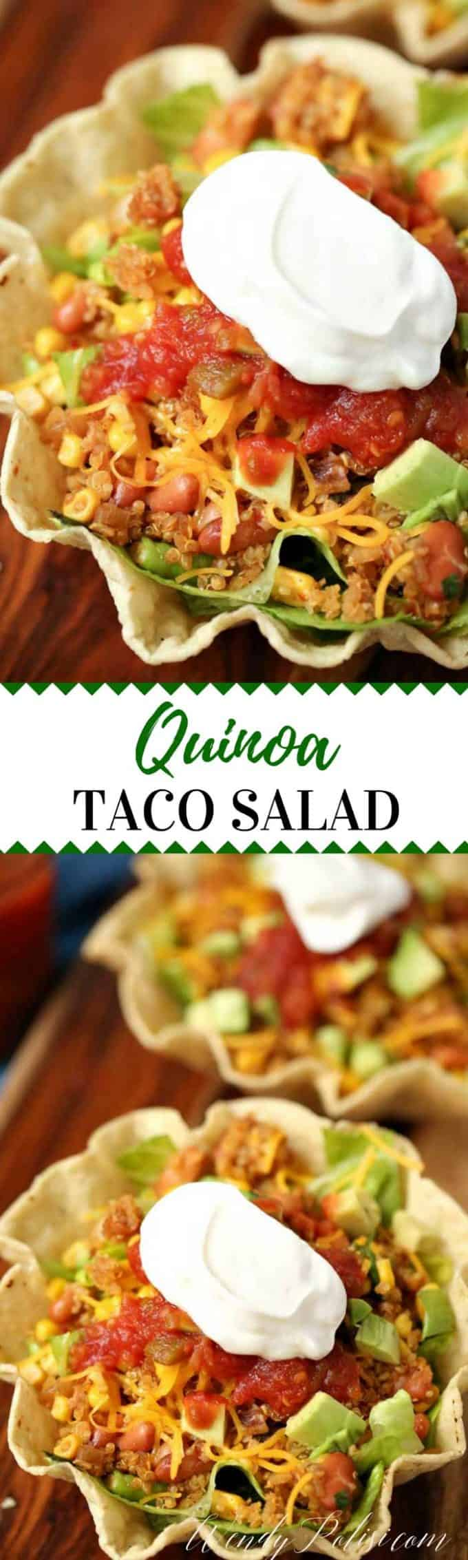 This Quinoa Taco Salad Bowl is a delicious and nutritious vegetarian meal that even meat eaters will love!  The perfect weeknight dinner.