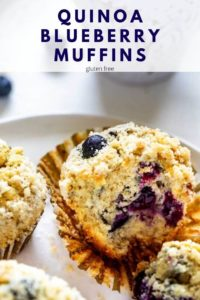 Close up photo of a blueberry quinoa muffin with the text Quinoa Blueberry Muffins above.