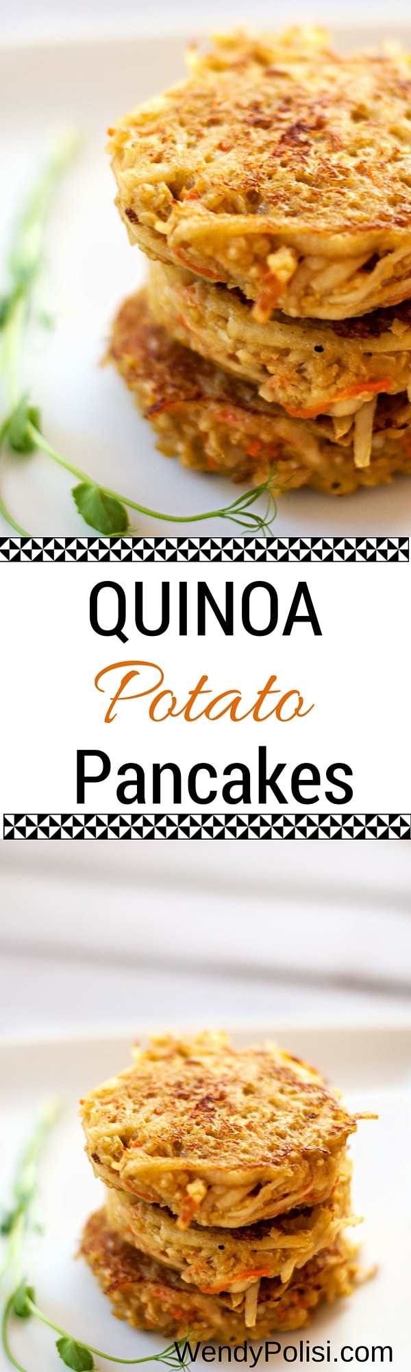 Quinoa Potato Pancakes - WendyPolisi.com - This healthy recipe is perfect for breakfast! With quinoa, potatoes and eggs you've got the perfect mix of protein and carbohydrates! Vegetarian with vegan option.