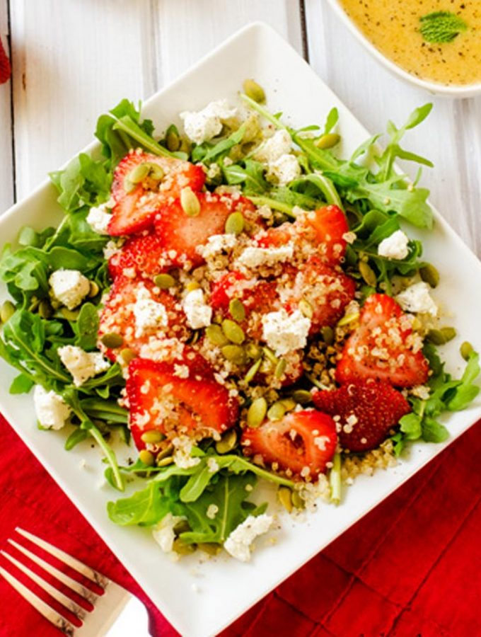 Strawberry Arugula Quinoa Salad with Sweet Lime Vinaigrette