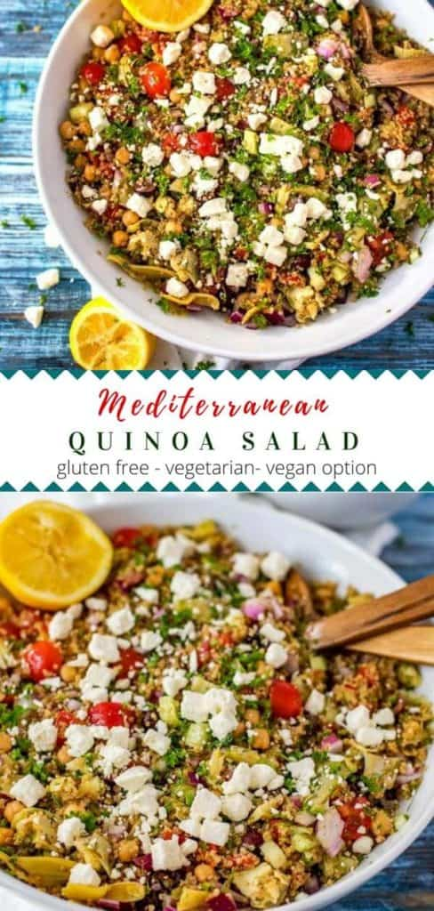 Collage of two photos of a Mediterranean Quinoa Salad in a white bowl with the recipe title in the middle.