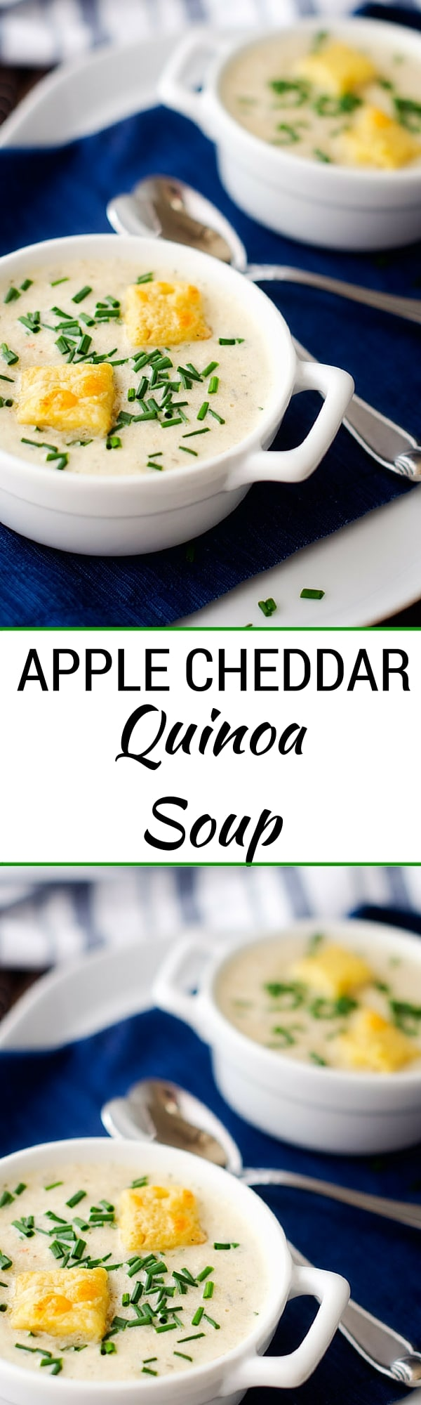 Quinoa Apple Cheddar Soup - This gluten free soup recipe is easy to make and the perfect solution to shake up your healthy meal plan.