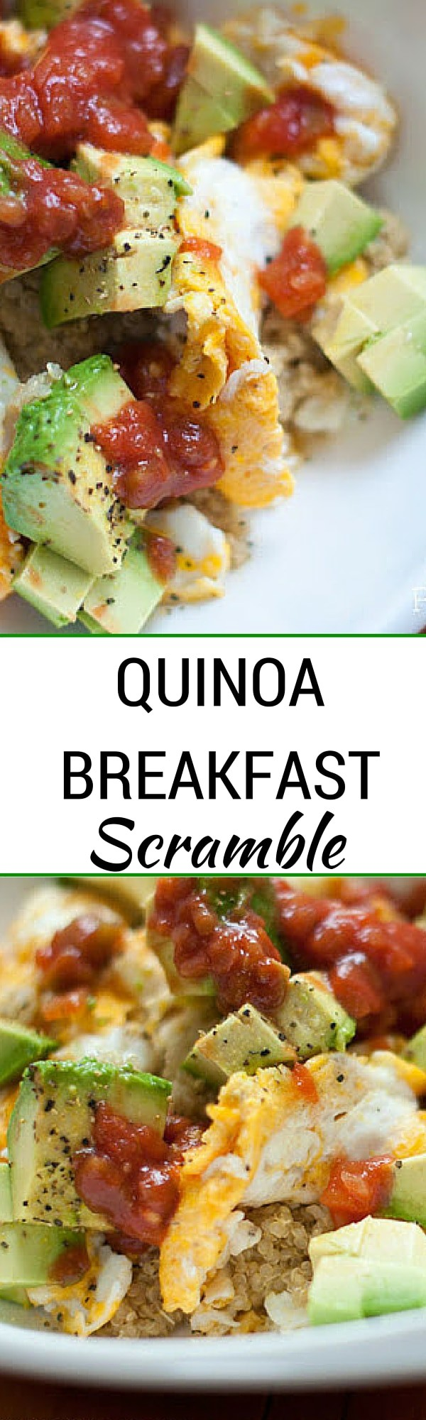 Quinoa Breakfast Scramble - This super easy breakfast recipe is the perfect way to jump start your day! With quinoa, eggs, avocado and salsa your taste buds will thank you. - #breakfast #breakfastrecipes #quinoa #quinoabreakfast #healthybreakfast