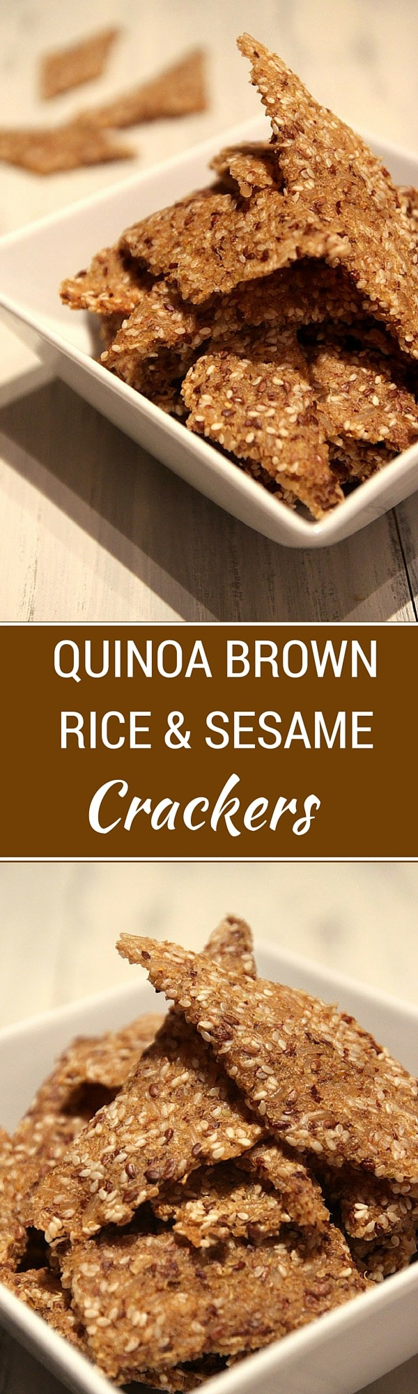 Quinoa Brown Rice Sesame Crackers - These easy to make crackers are packed with nutrients - brown rice, quinoa, sesame seeds and flax!  A great way to save money while sticking to your healthy eating plans. - WendyPolisi.com
