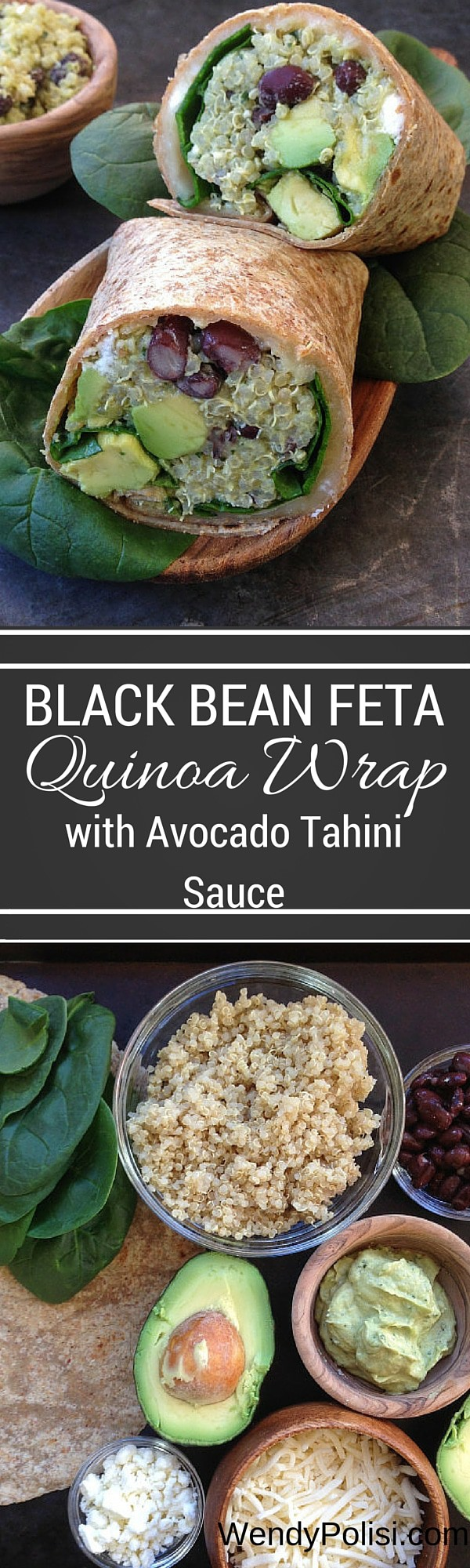 Black Bean, Feta & Avocado Quinoa Wrap with Avocado-Tahini Dip - These black bean and quinoa wraps make a fabulous vegetarian lunch!  With feta, Monterey jack, avocado and a flavor-filled Avocado-Tahini Dip, even the meat eaters will be thrilled! #quinoa #quinoawrap #healthyrecipe #avocado #tahini #lunchrecipe #vegetarian
