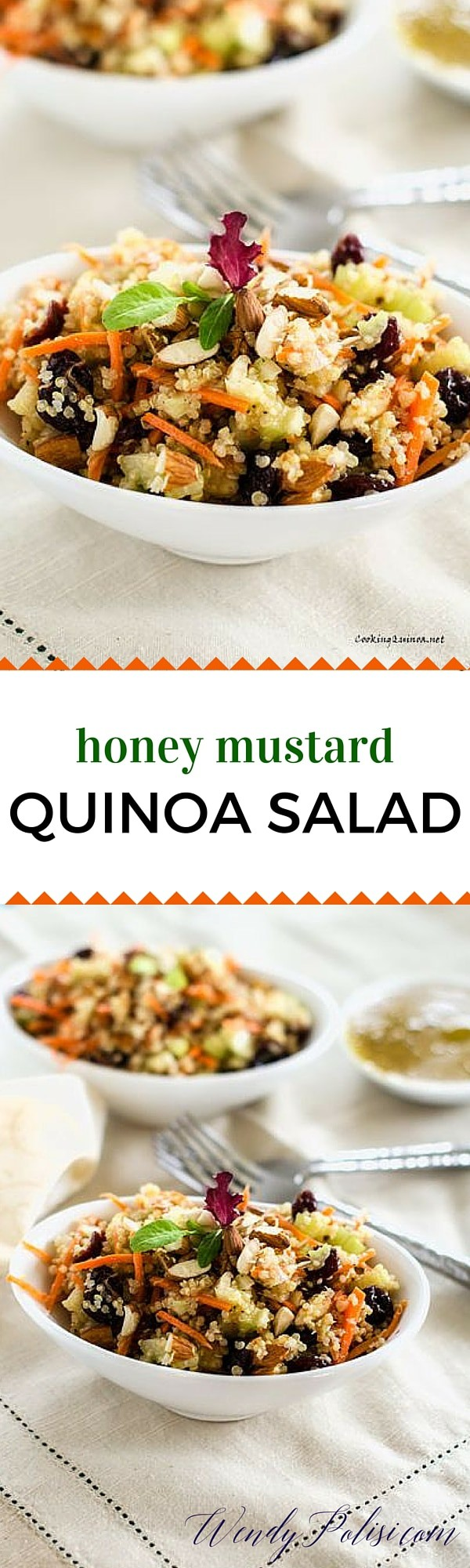 Honey Mustard Quinoa Salad - This easy vegan salad recipe is so delicious that even I didn't over complicate it! I love the crunch of the celery and almonds paired with the sweetness of the cranberries. I don't use bottled dressings so I've included my recipe, but feel free to use whatever Honey Mustard that you like!