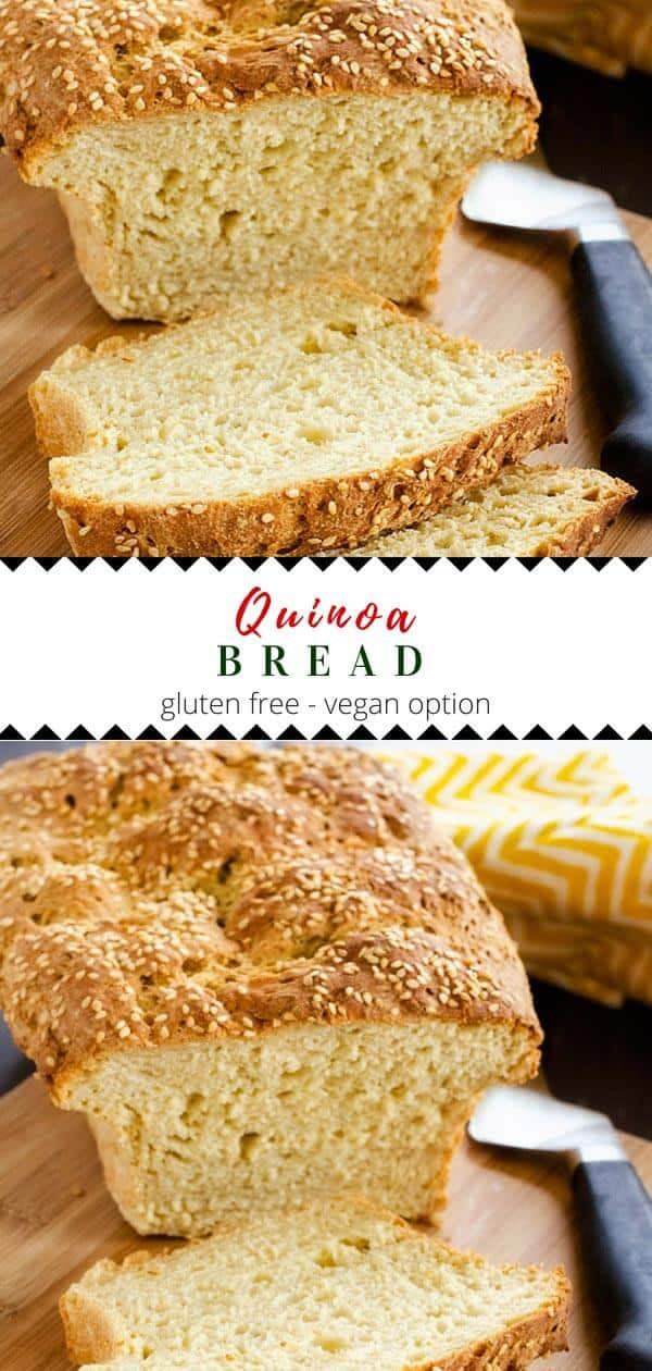This gluten free Quinoa Bread Recipe is a healthy bread that the family will love! #glutenfree #quinoa #quinoabread #healthyrecipes #healthyfood