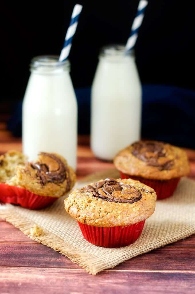 Side shot of Gluten Free Chocolate Hazelnut Muffins