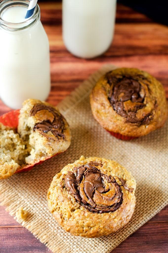 Close up shot of Gluten Free Chocolate Hazelnut Muffins