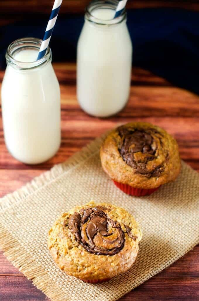 Two Gluten Free Chocolate Hazelnut Muffins