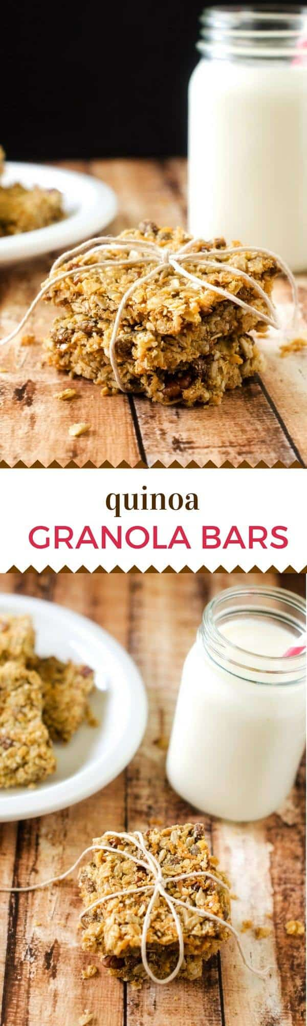 These Quinoa Granola Bars make a delicious, healthy snack that you can feel good about serving your family! #glutenfree #vegan