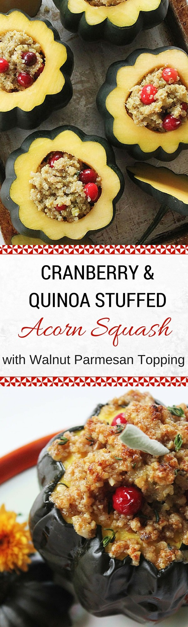 Cranberry & Quinoa Stuffed Acorn Squash with Walnut Parmesan Topping