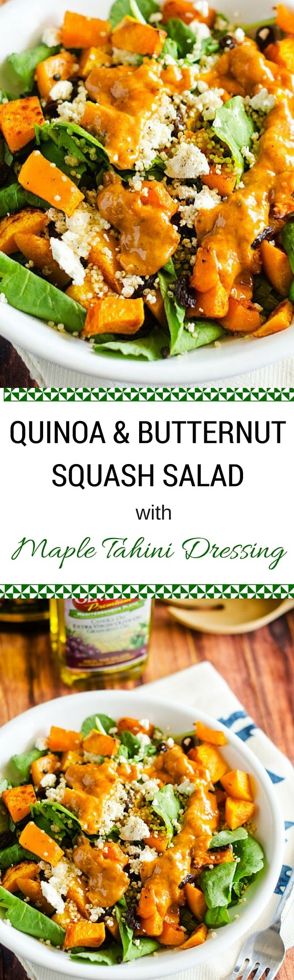 Quinoa & Butternut Squash Salad with Maple Tahini Dressing - This quinoa salad is the perfect fall salad with butternut squash, cranberries and a sweet heat maple dressing. So delicious!