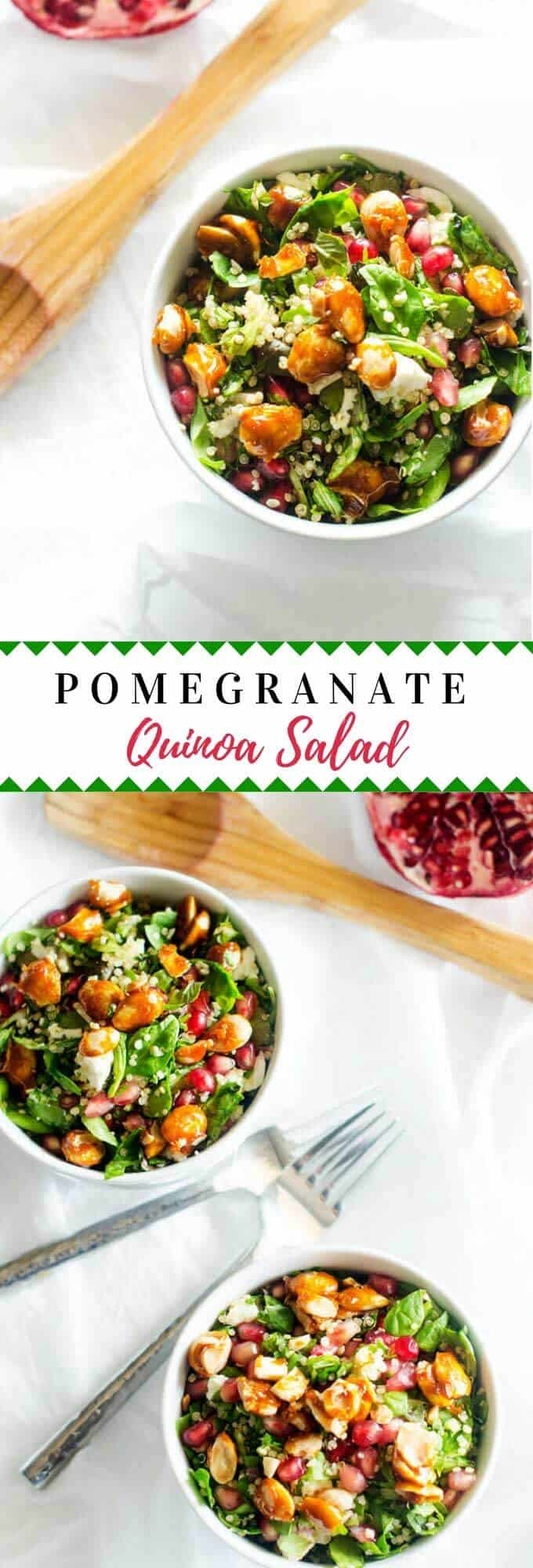 This healthy Pomegranate Quinoa Salad with Goat Cheese is one of those recipes you will make over and over!  It is naturally gluten free and easily made vegan. #quinoa #quinoasalad