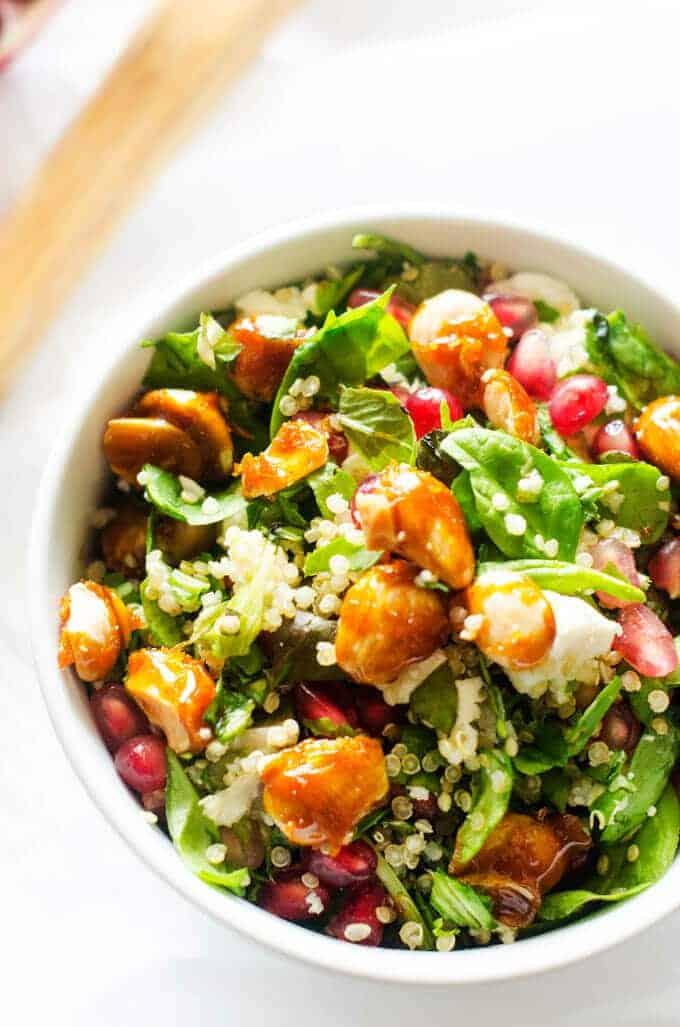 Close up shot of Pomegranate Quinoa Salad