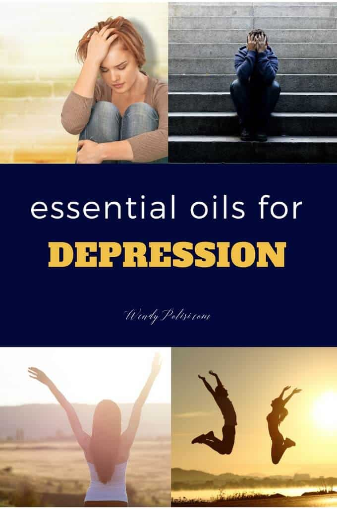 Two photos of people experiencing depression on the tip, copy that says Essential Oils for Depression in the middle and two photos of happy people at the bottom.
