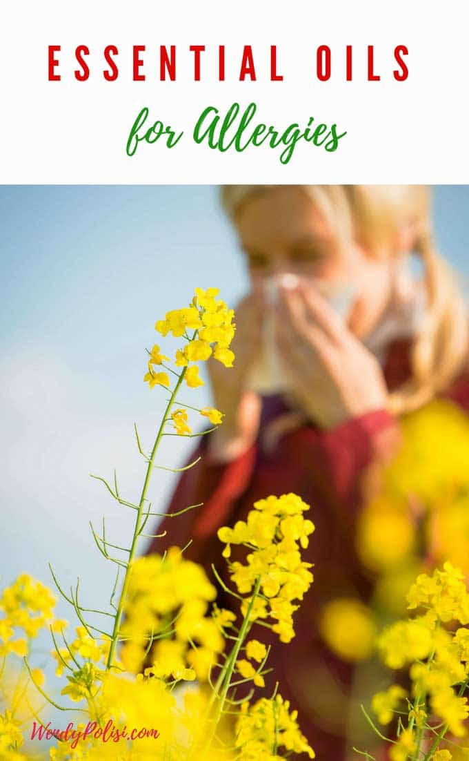 Photo of a woman sneezing behind a flower with the caption Essential Oils for Allergies