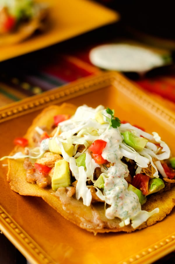 Chicken Amp Bean Tostadas With Chipotle Lime Sauce Wendy Polisi