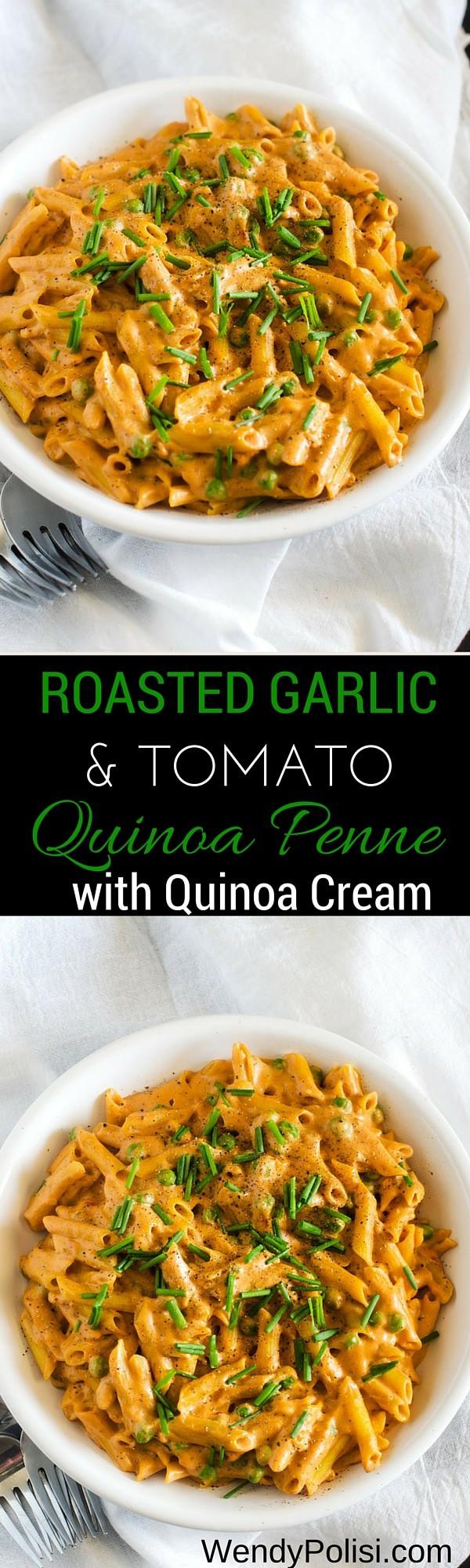 Roasted Garlic & Tomato Quinoa Penne with Quinoa Cream