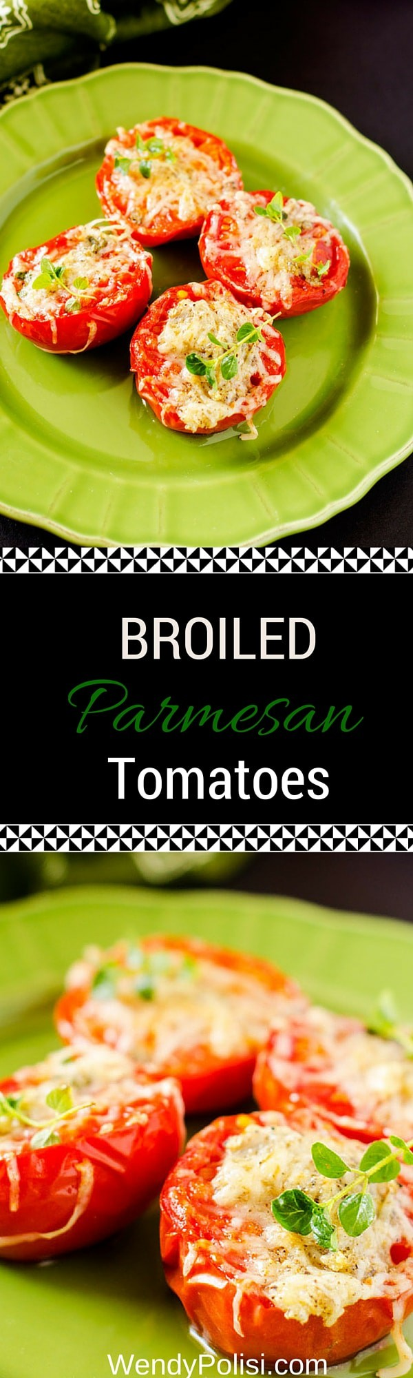 Broiled Parmesan Tomatoes - This appetizer or side dish is so simple and delicious!