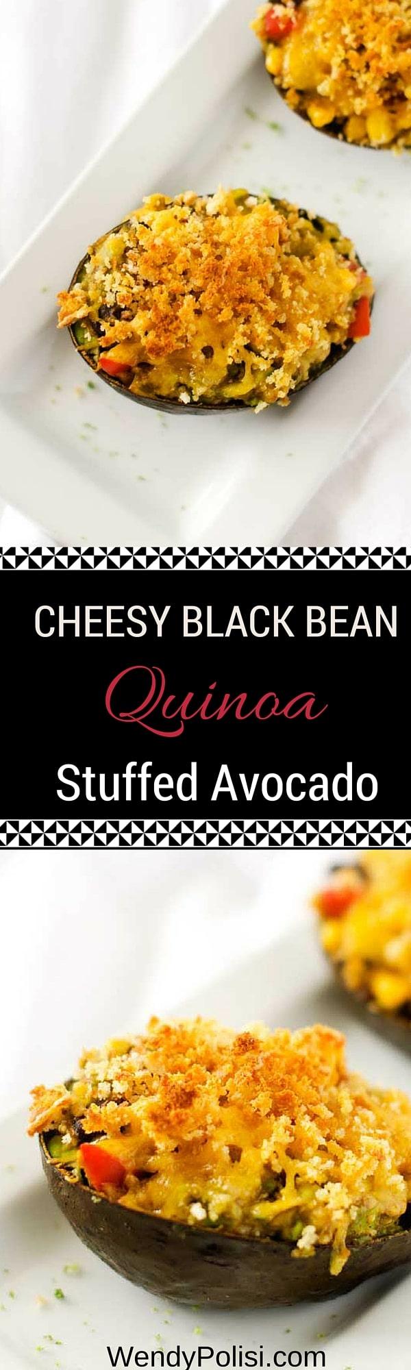Cheesy Black Bean Quinoa Stuffed Avocado