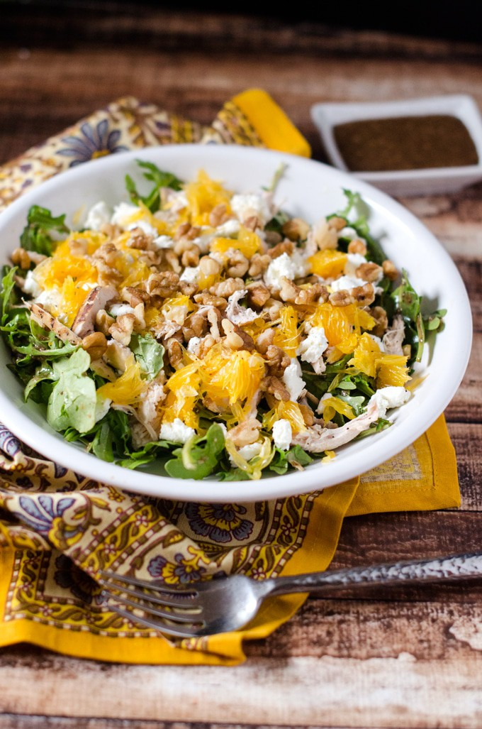 Chicken Arugula Salad with Oranges & Goat Cheese - WendyPolisi.com