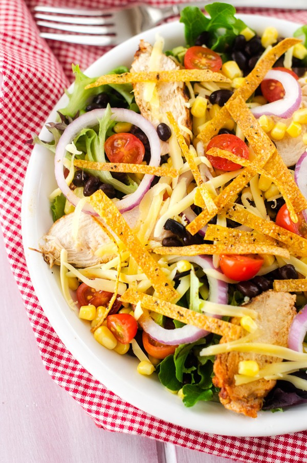 Grilled Chipotle Chicken Tortilla Salad - WendyPolisi.com