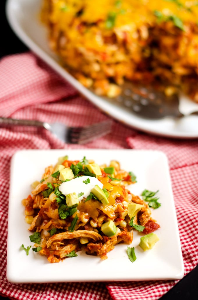 Slow Cooker Chicken Tortilla Casserole - A healthier & easy to make version of a loved classic. Gluten Free, Vegan Option