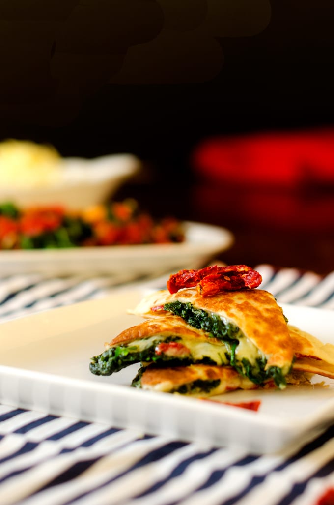 Spinach Sun Dried Tomato Quesadillas - WendyPolisi.com